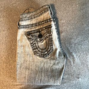 True religion grey washed straight leg jeans 26